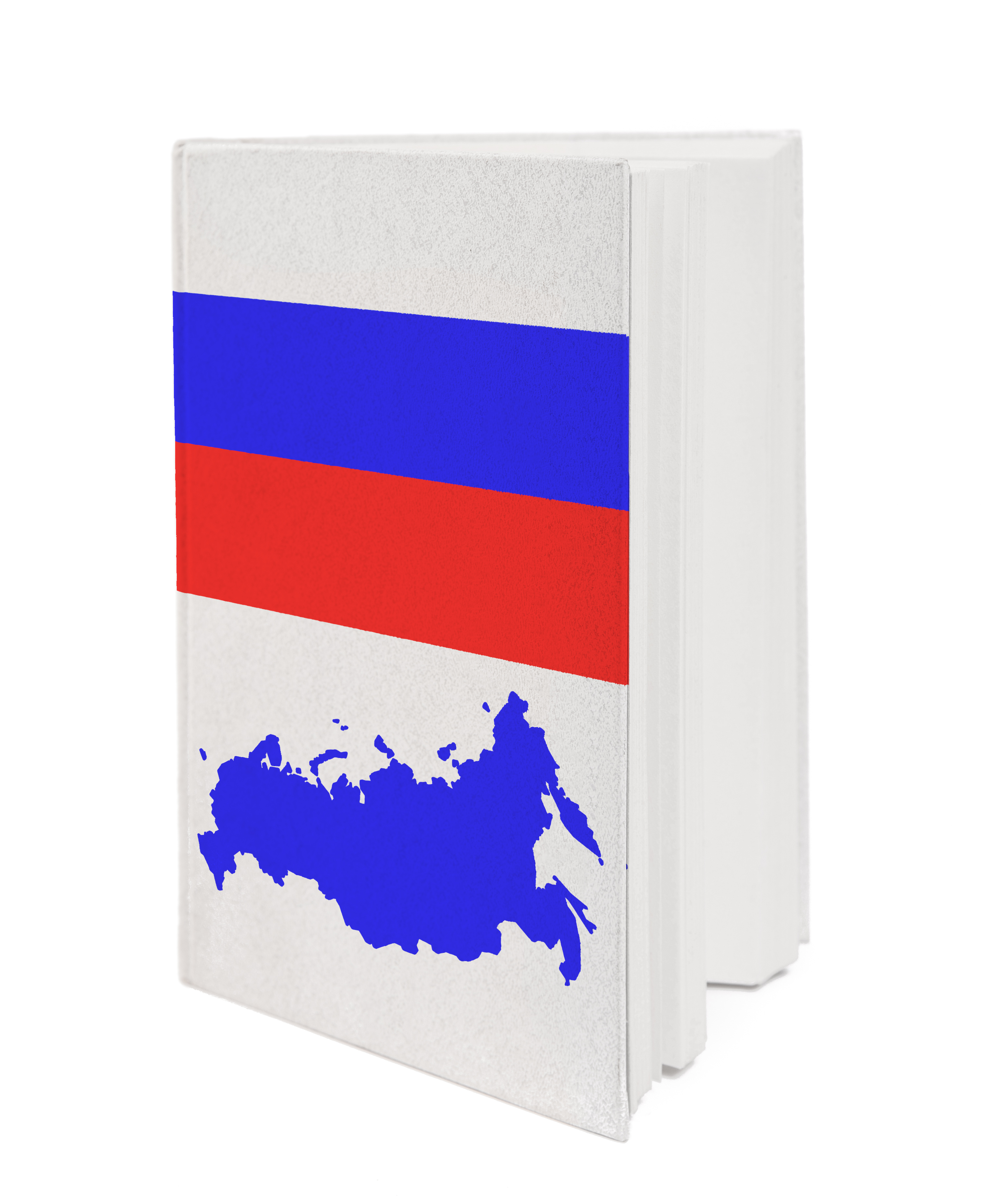 Book with the national flag and contour of Russia on cover.
